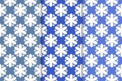 Satz Blumenverzierungen Vertikale blaue nahtlose Muster Stockbild