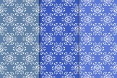 Satz Blumenverzierungen Vertikale blaue nahtlose Muster Lizenzfreie Stockfotos