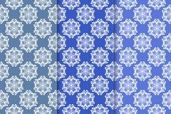 Satz Blumenverzierungen Vertikale blaue nahtlose Muster Lizenzfreie Stockfotografie