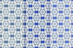 Satz Blumenverzierungen Vertikale blaue nahtlose Muster Stockbilder