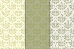 Satz Blumenverzierungen Vertikale nahtlose Muster des Olivgrüns Stockfoto