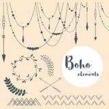 Satz Boho-Art-Elemente Blumenhintergrund mit Gras Stockfoto