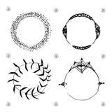 Satz Boho-Art-Felder und Hand gezeichnete Elemente Lizenzfreies Stockbild