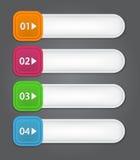 Satz Bookmarks, Aufkleber, Aufkleber, Umbauten. Nummeriert Lizenzfreie Stockfotografie