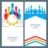 Satz Bowlingspielfahnenhintergrund-, -plakat-, -flieger- oder -aufklebergestaltungselemente Lizenzfreies Stockfoto