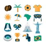 Satz brasilianische Ikonen Stockfotografie