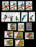 Satz Briefmarken für den Weltcup lizenzfreie abbildung