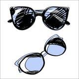 Satz Brillen und Sonnenbrille Von Hand gezeichnete Sammlung der Modeweinlese-Elemente stockbilder