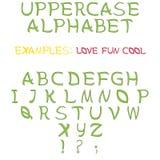 Satz Buchstaben als Versalienalphabet stockfoto