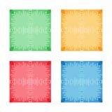 Satz bunte abstrakte quadratische Fahnen Flache Art Schablone für Design und Pastentext Grafisches Fahnendesign Stockbild