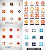 Satz bunte abstrakte symmetrische geometrische Ikonen Lizenzfreie Stockbilder