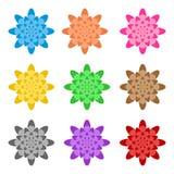 Satz bunte Blumen in Folge gefaltet nebeneinander und eine unter der anderen auf einem weißen Hintergrund Designerverzierung für  vektor abbildung