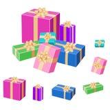 Satz bunte eingewickelte Geschenkboxen Vektor 3d Lizenzfreies Stockbild