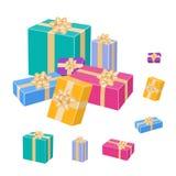 Satz bunte eingewickelte Geschenkboxen Vektor 3d Lizenzfreie Stockfotografie