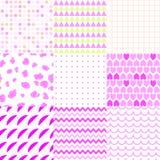 Satz bunte elegante nahtlose Muster Stockfotos