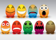 Satz bunte Emoticons Stockbild