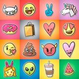 Satz bunte Emoticons, emoji, Aufkleber backgound, Vektor Stockfotografie