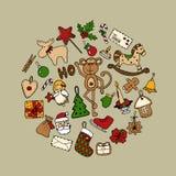 Satz bunte Gekritzel Weihnachtsikonen Stock Abbildung