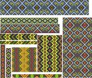 Satz bunte geometrische ethnische Muster für Stickerei-Stich Stockfotografie