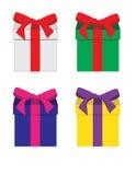 Satz bunte Geschenkboxen Lizenzfreies Stockfoto