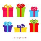 Satz bunte Geschenkboxen in der flachen Art Lizenzfreie Stockfotos
