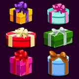 Satz bunte Geschenkboxen der Karikatur Lizenzfreie Stockfotos