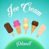 Satz bunte geschmackvolle Eiscreme Stockbild