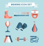 Satz bunte Gestaltungselemente des Boxausrüstungs-Vektors auf blauem Hintergrund Auch im corel abgehobenen Betrag Lizenzfreie Stockbilder