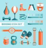 Satz bunte Gestaltungselemente des Boxausrüstungs-Vektors lokalisiert auf blauem Hintergrund Auch im corel abgehobenen Betrag Stockfoto