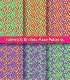 Satz bunte isometrische Labyrinthmuster Nahtlose Verzierung Helle kontrastierende Farben lizenzfreie abbildung