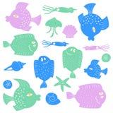 Satz bunte Karikatur fishs stock abbildung