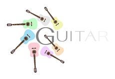 Satz bunte klassische Gitarren auf weißem Backgro Stockfotos