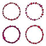 Satz bunte Kreisrahmen, Karikaturart, rote Schatten vektor abbildung