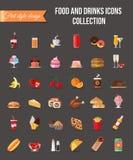 Satz bunte Lebensmittel- und Getränkikonen Flaches Artdesign lokalisierte Ikonen mit langem Schatten Lizenzfreie Stockfotos