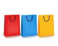 Satz bunte leere Einkaufstaschen Auch im corel abgehobenen Betrag lizenzfreie abbildung