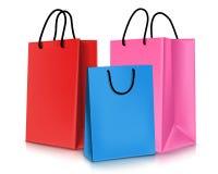 Satz bunte leere Einkaufstaschen Auch im corel abgehobenen Betrag vektor abbildung