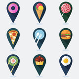 Satz bunte Markierungen für Karte mit flachen Ikonen des Lebensmittels Lizenzfreie Stockfotografie