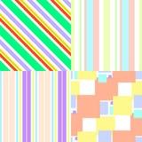 Satz bunte nahtlose Muster mit geometrischen Elementen Stockfotografie