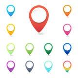 Satz bunte Navigationsstift-, GPS-Standortikonen oder Netzknopfzeiger Stockbilder