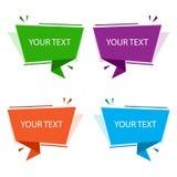 Satz bunte Origamifahnen Textboxen für Darstellung oder Förderung Auch im corel abgehobenen Betrag vektor abbildung