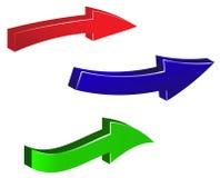 Satz bunte Pfeile auf weißem Hintergrund Grüne, rote, blaue Pfeilillustration Stockfotografie