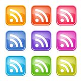 Satz bunte RSS-Ikonen Lizenzfreies Stockfoto
