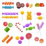Satz bunte süße Schokoladen, Nachtische, sortierte köstliches Lebensmittel vektor abbildung