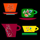 Satz bunte Schalen für Tee Lizenzfreie Stockbilder