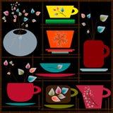 Satz bunte Schalen für Tee Lizenzfreies Stockfoto