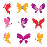 Satz bunte Schmetterlings-Ikonen Stockfotografie