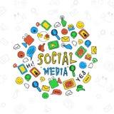 Satz bunte Social Media-Ikonen Stockfoto
