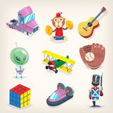 Satz bunte Spielwaren für Kinderspiele, Erholung und Feiertagsgeschenke Lizenzfreie Stockfotografie