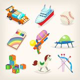 Satz bunte Spielwaren für Kinderspiele Geschenke für Kinderfeiertage Stockbild