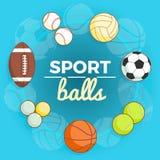 Satz bunte Sportbälle an einem blauen Hintergrund Bälle für Rugby, Volleyball, Basketball, Fußball, Tischtennis, Baseball Stockbilder